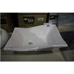 VALLEY ACRYLIC ABOVE COUNTER PORCELAIN BASIN 20 X 14 X 6  - WHITE
