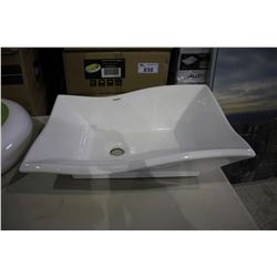 VALLEY ACRYLIC ABOVE COUNTER PORCELAIN BASIN 20 X 14 X 6  - WHITE (IN BOX)