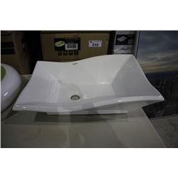 """VALLEY ACRYLIC ABOVE COUNTER PORCELAIN BASIN 20 X 14 X 6"""" - WHITE (IN BOX)"""