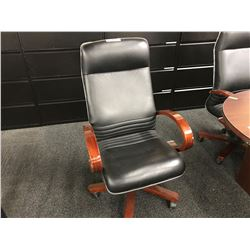 BLACK LEATHER/MAHOGANY FRAMED HI-BACK EXECUTIVE CHAIR