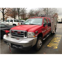 2004 FORD F-550 CAFS FIRE TRUCK, RED, VIN # 1FDAW57PX4ED10714