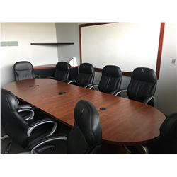 CONTENTS OF BOARDROOM INCLUDING HIGH BACK LEATHER EXECUTIVE CHAIRS, BOARDROOM TABLE, WHITE BOARD,