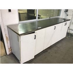 APPROX. 8' STAINLESS STEEL TOP COUNTER/STORAGE UNIT