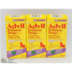 LOT OF 3 CHILDRENS ADVIL PEDIATRIC DROPS