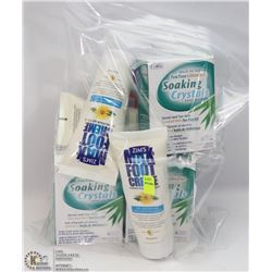 BAG OF ASSORTED FOOT CARE PRODUCTS