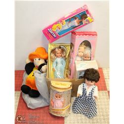 BOX OF ASSORTED COLLECTOR DOLLS.