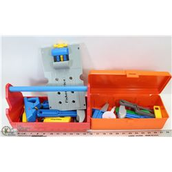 BOX OF KIDS FIX-IT PLAY TOOLS- MOSTLY FISHER PRICE