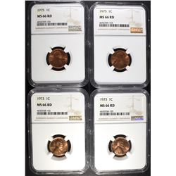 2-1973 & 2-75 LINCOLN CENTS, NGC MS-66 RED