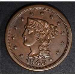 1848 LARGE CENT, CH BU cleaned