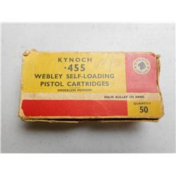 KYNOCH 455 WEBLEY SELF LOADING AMMO