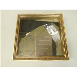SHADOW BOX INCLUDES CANADIAN ARMY SERVICE & PAY BOOK FOR RAYMOND SPICER B-3823
