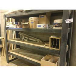 LARGE WOODEN RACK WITH ASSORTED CONTENTS