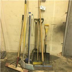 LOT OF ASSORTED BROOMS, SHOVELS AND MORE