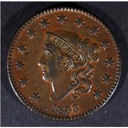 "1833 LARGE CENT ""HORNED 8"" AU/BU"