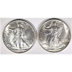 2-1945-S WALKING LIBERTY HALF DOLLARS, GEM BU