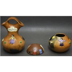 THREE POTTERY ITEMS (MANNYGOATS)