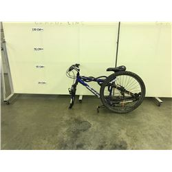 BLUE NAKAMURA FULL SUSPENSION MOUNTAIN BIKE, MISSING WHEEL, CONDITION UNKNOWN