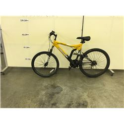 YELLOW SUPERCYCLE MENACE 21 SPEED FULL SUSPENSION MOUNTAIN BIKE