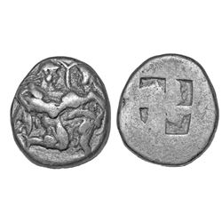 ANCIENT GREEK. Greek silver, 463-411 BC, Thracian Islands, Thasos, AR stater - satyr, nymph / incuse