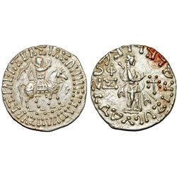 ANCIENT INDO-SCYTHIAN KINGDOM.  Azes, 58-12 BC, AR tetradrachm - attractive!