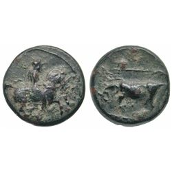 ANCIENT GREEK bronze - Thessaly, Krannon, 400-344 BC - horseman / bull