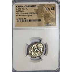 ANCIENT GREEK Silver, Cilicia, Celendris - AR stater, 425-350 BC. -horseman / lazy goat  - NGC CH XF