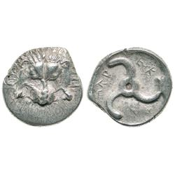 ANCIENT GREEK. silver - Lycian Dynasts, 390-370 BC, AR tetrobol - lion / triskeles