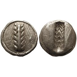 ANCIENT GREEK. Lucania, Metapontum. AR Nomos. Ear of Barley.