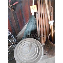 Battery Chargers, Tire Iron, Garbage Can, Leaf Rake, Tomato Cages
