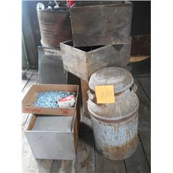 10 Gal. Milk Can, Wooden Boxes, Etc.