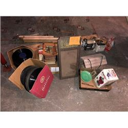 BUNDLE LOT: Vintage Movie Equipment, Records, 2 Lounge / Lawn Chairs, MORE