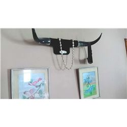 Cow Horns, 2 Framed Bird Illustrations
