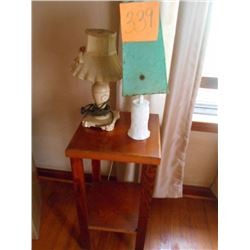 Wooden Stand w/ 2 Table Lamps
