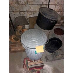 BUNDLE LOT: Metal Containers, Lunch Pails, Cake Safe, Thermos, Garbage Cans, Baskets