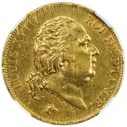 FRANCE: Louis XVIII, 1814-1824, AV 40 francs, Lille, 1818-W. NGC MS62