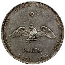 FRANCE: medallic AR 5 francs, 1815. F-VF