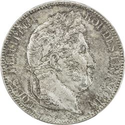 FRANCE: Louis-Philippe I, 1830-1848, AR 5 francs, 1841-BB. PCGS MS64