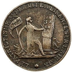 FRANCE: AE medal (17.83g), year 3 (1792/93). VF