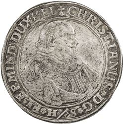 BRUNSWICK-LUNEBURG-CELLE: Christian, 1599-1633, AR thaler, Clausthal mint, 1625. F-VF