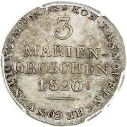 HANNOVER: AR 3 mariengroschen, 1820. PCGS MS64