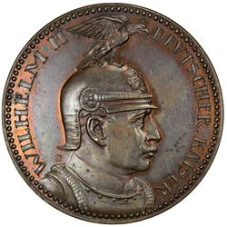 GERMANY: Wilhelm II, 1888-1918, AE pattern 5 mark (18.61g), 1913-G. UNC