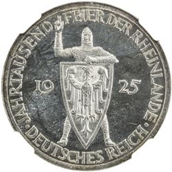 GERMANY: Weimar Republic, AR 3 mark, 1925-A. NGC PF63