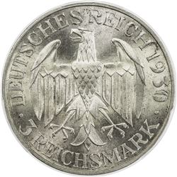 GERMANY: Weimar Republic, AR 3 mark, 1930-F. PCGS MS66