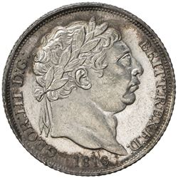 GREAT BRITAIN: George III, 1760-1820, AR 6 pence, 1816. UNC