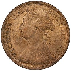 GREAT BRITAIN: Victoria, 1837-1901, AE halfpenny, 1887. PCGS MS64