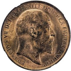GREAT BRITAIN: Edward VII, 1901-1910, AE penny, 1904. NGC MS63