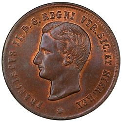 SICILY: Francesco II, 1859-1861, AE 2 tornesi, 1859. PCGS MS65