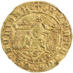 SPAIN: Fernando V & Isabel, 1474-1504, AV doble excelente (7.02g), Seville, ND (1497-1504). NGC MS62