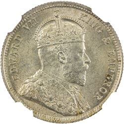 EAST AFRICA & UGANDA: Edward VII, 1901-1910, AR 50 cents, 1906. NGC MS65