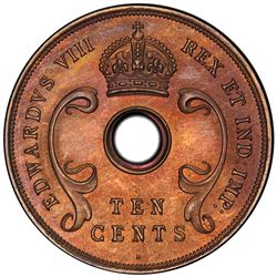 EAST AFRICA: Edward VIII, 1936-1937, 10 cents, 1936-H. PCGS PF66